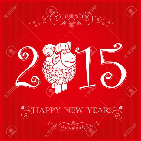 portada29318278-funny-sheep-on-bright-red-background-and-happy-new-year-2015-chinese-symbol-vector-goat-2015-year-il