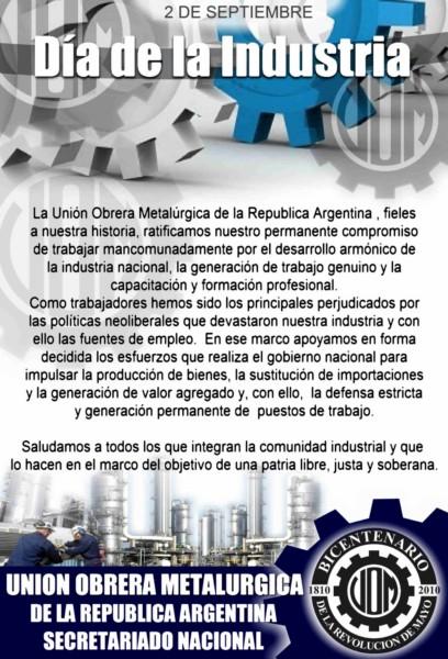 El 2 de septiembre se celebra en Argentina el Día de la Industria