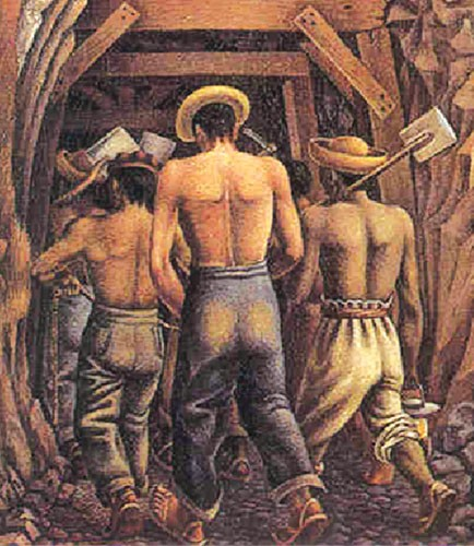 Mineros, 1941 _ detalle _ El Corcito _ Acervo Patrimonial