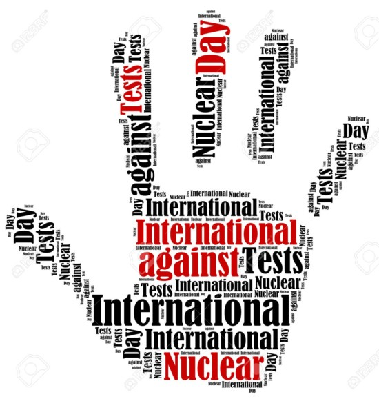 Word cloud illustration related to International Day against Nuclear Tests