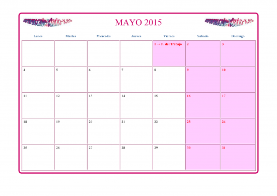Calendario Mayo 2015