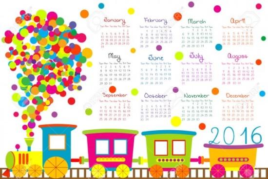 calendario-con-tren-de-dibujos-
