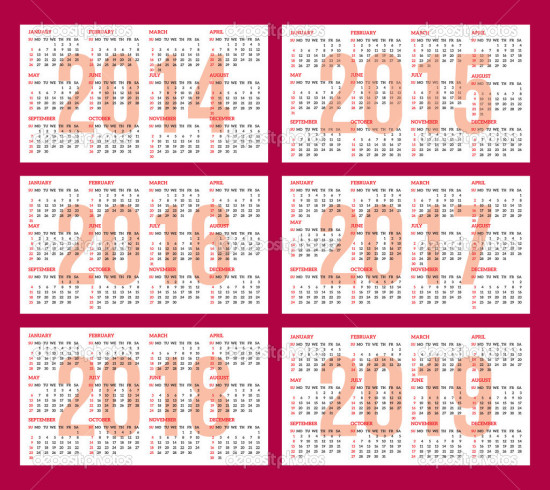 calendar grid for 2014, 2015, 2016, 2017, 2018, 2019