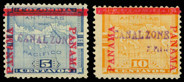 1904 5c blue y 10cyellow PANAMA Sello - Scott 2 y 3