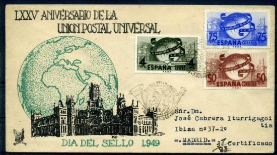 1949 dia sello sobre