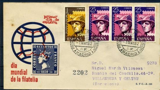1962 dia sello sobre
