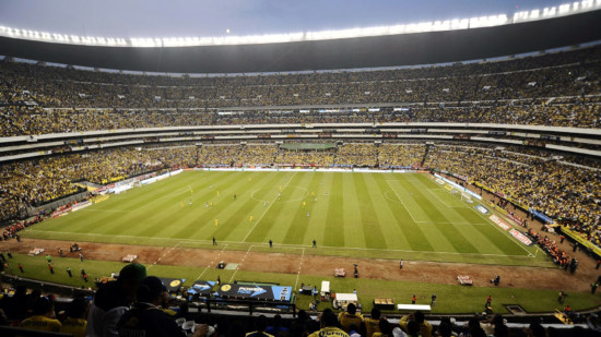General view of the Azteca stadium during the Mexican Apertura tournament final football match between America and Leon on December 15, 2013 in Mexico City. AFP PHOTO/Omar Torres (Photo credit should read OMAR TORRES/AFP/Getty Images)