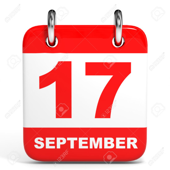 Calendar on white background. 17 September. 3D illustration.